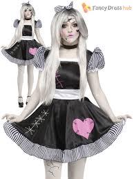 Ladies Halloween Broken Rag Doll Fancy Dress Costume Zombie Ghost
