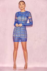 clothing bandage dresses u0027amina u0027 royal blue bandage cage dress