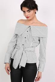 belted blouse striped bardot sleeve belted blouse in black pilot