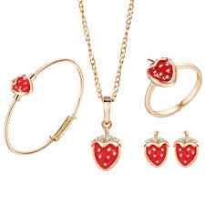 gold pendant chain bracelet images Jewelry set children strawberry plated gold adornment necklace jpg