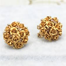 gold earrings for marriage 2016 new design fashion brand jewelry flower summer style