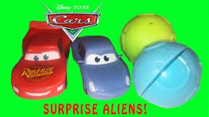 disney cars movie toy videos alien surprise lightning mcqueen fun