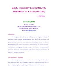 model worksheet for integrated experiment in b sc ed zoology a pr u2026