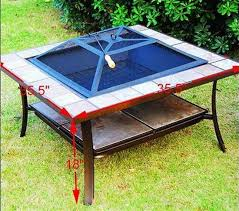 36 Fire Pit by 36 Inch Square Outdoor Metal Fire Pit Stove Table