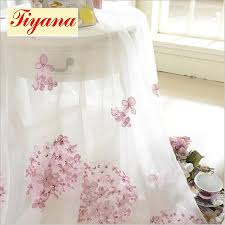 Cherry Blossom Curtains Embroidery Screen Romantic Pink Cherry Blossom Bedroom Window
