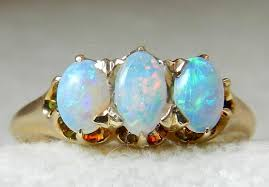 opal stone rings images Opal ring opal engagement ring 14k three stone ring gold past jpg