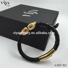 black leather bracelet with gold images 2016 new design black python leather bracelet handmade braid man jpg