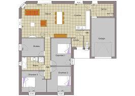 plan de maison 3 chambres salon maison plain pied 7