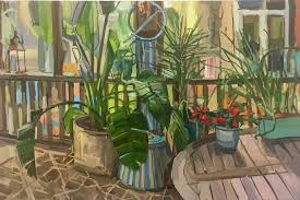 francis sills plants on porch oil painting of potted plants on