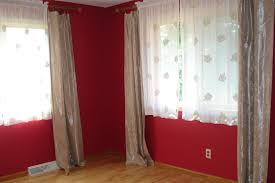Bedroom Ideas With Red Walls Dark Brown Curtains Plus White Bed Having Cream Comforter Steel