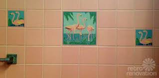 some of the tiles have flamingos and fish picture tiles im