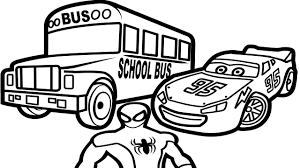 lightning mcqueen with bus and spiderman coloring pages for kids