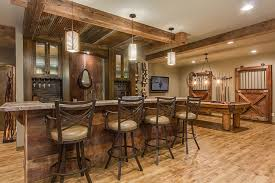 Finished Basement Bar Ideas This Basement Combines Rustic And Luxury Materials To Create An