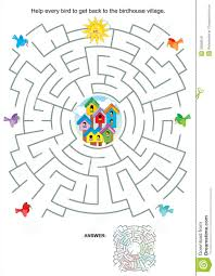 maze game for kids birds and birdhouses royalty free stock