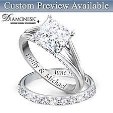 Personalized Engraved Rings Princess Platinum Plated Personalized Bridal Wedding Ring Set For