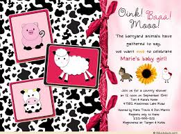 barnyard animal shower invitation bandanna farm baby