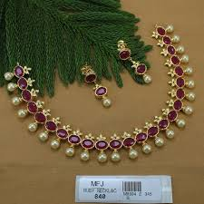necklace designs with stones images Ruby stones flowers design with pearls drop gold plated finish jpg