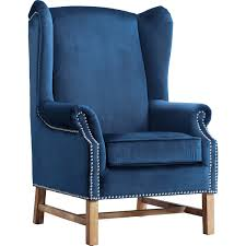 Modern High Back Wing Chair Tov Furniture Tov A2042 Nora Navy Velvet Wing Chair W Silver Nailhead
