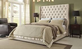 Tufted Headboard King Bed With Tufted High Headboard