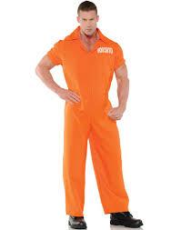 Prisoner Halloween Costumes Convicted Mens Orange Convict Prisoner Jumpsuit Halloween Costume