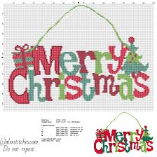 colorful merry christmas text present and tree door hanger free