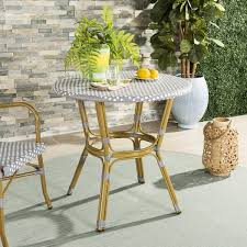 Grey Bistro Table Safavieh Outdoor Living Sidford Grey White Rattan Bistro Table