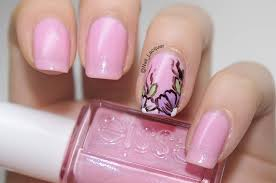 pink and purple accent flower nail art design