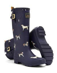 womens work boots at target navy wellyprint womens print boot wellies joules us