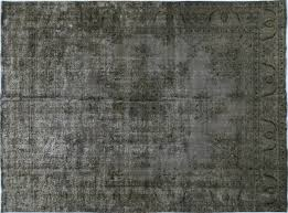 Silver Grey Rug 10 U0027x14 U0027 Silver Wash Gray Overdyed Oriental Hand Knotted Wool Area