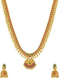 gold long necklace images Voylla graceful satva gold long necklace set copper plated copper jpeg