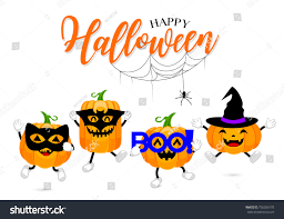 set cute cartoon pumpkin character design stock vector 736506178