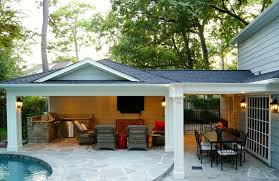 How To Build A Detached Patio Cover Patio Cover Built Off Garage U0026 Outdoor Kitchen In Memorial Texas