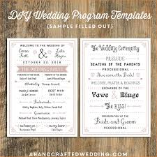 diy wedding program template 5 template for wedding program outline templates