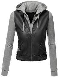 amazon columbia jackets black friday doublju women u0027s zip up faux leather moto jacket with hoodie black