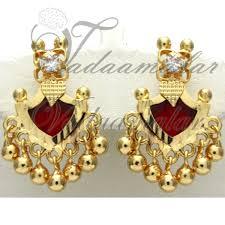 kerala earrings palakka traditional india kerala earring earstud micro gold plated