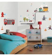 chambre garcon pompier sticker enfant pompier stickers chambre enfant décoration caselio