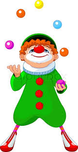 clowns juggling balls clown juggling with colored balls stock vector