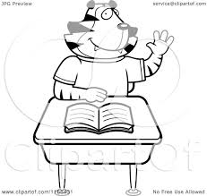 Raising A Desk Cartoon Clipart Of A Black And White Tiger Student Raising His