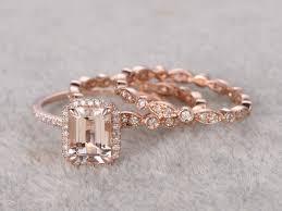 bridal gold set 3pcs emerald cut morganite wedding set eternity diamond