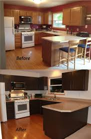 Painted And Glazed Kitchen Cabinets by Gorgeous Brown Painted Kitchen Cabinets Before And After Glazed