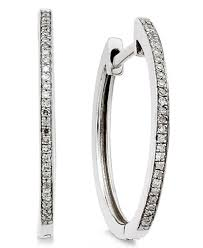 s diamond earrings diamond hoop earrings 1 10 ct t w in 14k white gold earrings