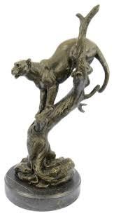 mountain lion statue large mountain lion leopard bronze marble sculpture