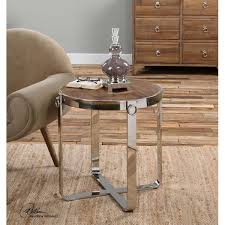 Side Accent Table Reclaimed Wood U0026 Polished Steel Side Accent Table Round
