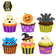 Halloween Cupcakes Cakes by Halloween Cupcakes Clip Art Set Daily Art Hub