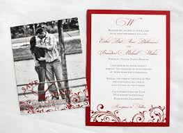Save The Date Wedding Invitations Red Vintage Scroll With Dots Clutch Pocket Wedding Invitations