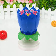 birthday candle flower musical rotating lotus flower cake topper party birthday candle