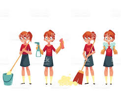 Cleaning The House teenage cleaning the house doing chores cartoon vector