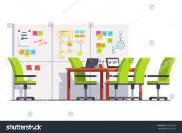 Big White Boards Development Company Boardroom Interior Scrum Wall Stock Vector