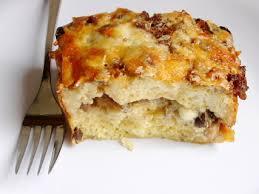 egg strata casserole breakfast strata with sausage mushrooms and monterey jack
