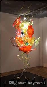 Orange Glass Chandelier Unique Design Orange Color Lotus Leaf Plate Lamps Handmade Murano